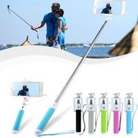 Portable Wired Connect Selfie Stick Handheld Monopod Built-in Shutter Extendable Fold Selfiestick = 1946105156