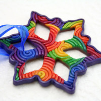 Rainbow Christmas Ornament, Snowflake in Polymer Clay Filigree