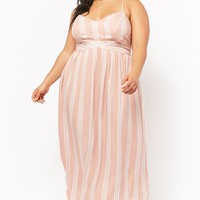 Plus Size Striped Crisscross Maxi Dress