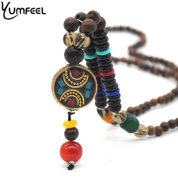 Yumfeel Handmade Vintage Ethnic Round Nepal Buddhist Mala Wood Beads Pendants Necklace
