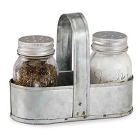 Mud Pie Fresh Jar Salt & Pepper Caddy Set