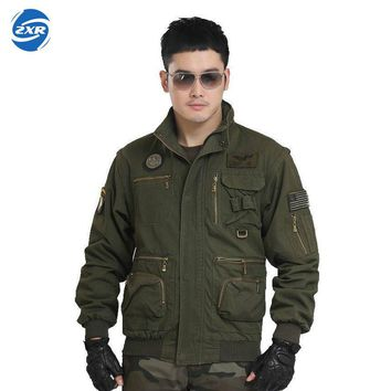 Zuoxiangru Tactical Jacket Vest Military Style Multi Pockets Men Coat Army Outerwear Male Green Outdoor Hunting Sport Jacket
