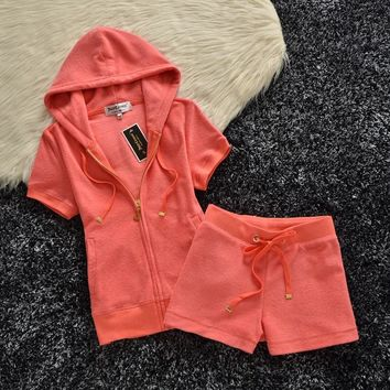 Juicy Couture Original Velour Tracksuit 607 2pcs Women Suits Orange Red