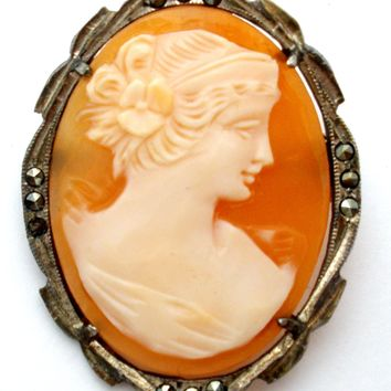 Carved Cameo 800 Silver Pendant Brooch