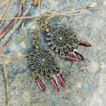Tribal ruby shield chandelier earrings. Charm beaded jewelry, Boho chic, Valentines Day gift idea