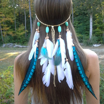 Turquoise Princess, Feather, headband, native, american, style, indian, hippie headband, bohemian headband, wedding veil, feather veil