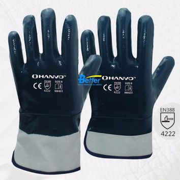 Oil and Gas Safety Glove Heavy Duty Cotton Jersey With Nitrile Coated Work Glove