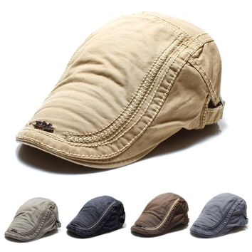 US Men Cotton Embroidery Painter Berets Caps Casual Outdoor Visor Adjustable Hat