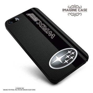 Subaru WRX STI logo field of simulated Black Carbon Fiber case cover for iphone, ipod, ipad and galaxy series