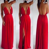 Sexy Backless Off Shoulder Deep V Maxi Dress