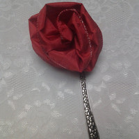 Red Fabric Flower Ribbon Large Silver Bookmark
