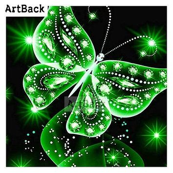 5D Diamond Painting Green Glow Butterfly Kit