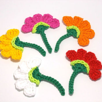 Crochet Flowers with twig, crochet flower applique, red, orange, yellow, white pink, Crochet appliques (Set of 5)