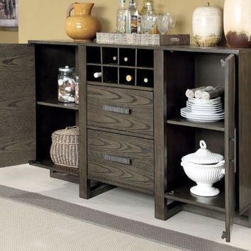 Furniture of america CM3213-SV Eris I weathered gray finish wood dining sideboard server console table