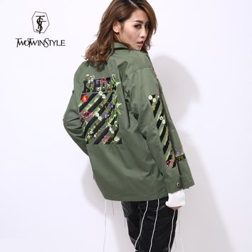 2016 Autumn Winter Women's Army Green Flower Embroidered Streetwear Jacket
