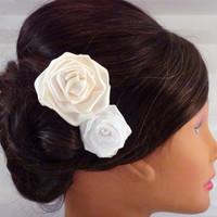 Vintage Ivory and White Rose Flower Bridal Fascinator
