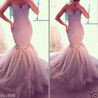 New Tulle Mermaid Sweetheart Evening Dress Beading Prom Gown Women Party Dress