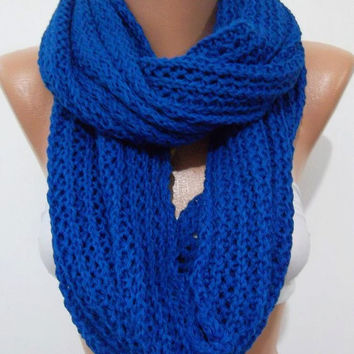 Elegant and soft  Infinity Scarf  Circle Scarf   Knit Fall Scarf  Cobalt Blue