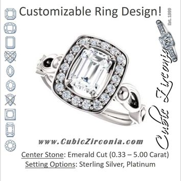 Cubic Zirconia Engagement Ring- The Deb (Customizable Emerald Cut Design with Large Halo, Fleur-de-lis Trellis and Bubbled Infinity Band)