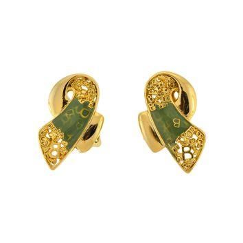balenciaga vintage seafoam enamel gold twist earrings 2