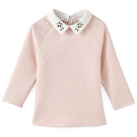 Light Pink Rhinestone Collar Blouse