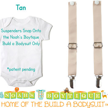 Tan Noah's Boytique Bodysuit Suspenders - Snap On - Suspender Outfit - Baby Suspenders - Newborn Suspenders - Interchangeable