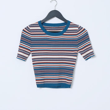Stripes In Heaven Knit Crop Top