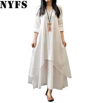NYFS New Style Spring Women Dress Vintage Cotton Linen Plus Size Loose Plus size Dress Vestidos Elbise M-5XL Size