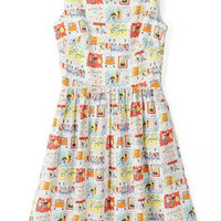 Cartoon Print Sleeveless Pleated Mini Dress