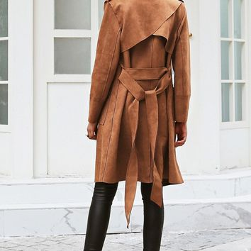 Turn Down Collar Suede Leather With Pocket Detail Trench Coat