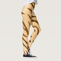 Beige Brown Tiger Skin Pattern Leggings
