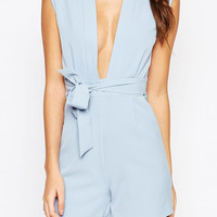 Sleeveless Plunging Neck Romper With Waist Bow Tie