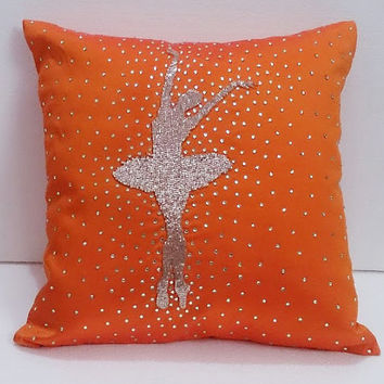 orange silk silver beaded ballerina dance silhoutte pillowcase handmade paris home decorative pillow gift french decor retro