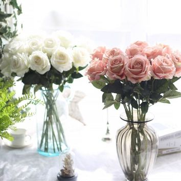 NieNie Artificial Flower 9pc/lot Rose Artificial Bouquet Real Touch Flowers For Home Wedding Decoration Fake Flowers Wreaths
