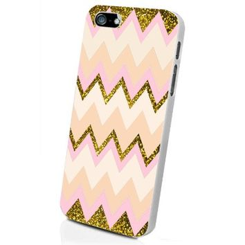 Gold Pink Chevron Galaxy Custom Case for Iphone 5/5s/6/6 Plus (White iPhone 5/5s)