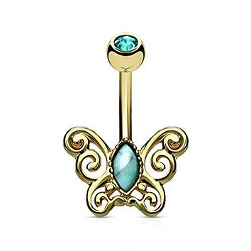 Turquoise Centered Filigree Butterfly 316L Surgical Steel WildKlass Belly Button Navel Rings