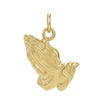 14k Yellow Gold Praying Hands Charm or Pendant 19mm