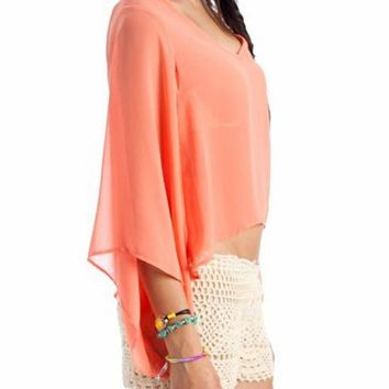 semi-sheer open dolman sleeve top $27.10 in IVORY MINT SALMON - Long Sleeve | GoJane.com