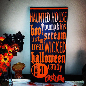 Halloween  Subway art,  Halloween Decoration, , Halloween, , Personalized sign. Wood sign, trick or treat, Candy, scary, ghost, boo, costume