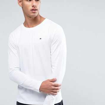 Tommy Hilfiger Flag Icon Long Sleeve Top In Organic Cotton In White at asos.com