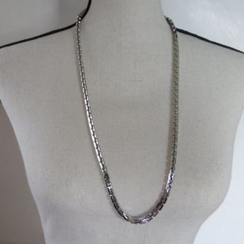 Vintage 32 inch Monet Silver Link Necklace, 80's  Rectangle Anchor Link Chain Necklace, Industrial Style Chain