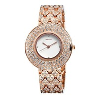 Zlyc Women's Bling Rhinestone Encrusted Rose Gold Plated Classic Round Dial Quartz Bracelet Watch