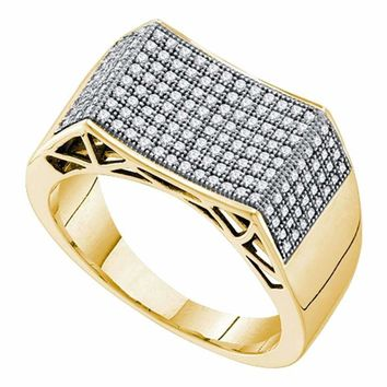10kt Yellow Gold Men's Round Pave-set Diamond Concave Rectangle Cluster Ring 1/2 Cttw - FREE Shipping (US/CAN)
