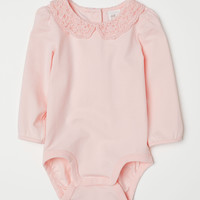 Bodysuit with Lace Collar - Light pink - Kids | H&M US