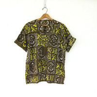Vintage Batik Shirt. Summer Print tshirt. yellow + green top. Boho Bali short sleeve shirt.
