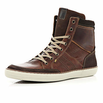 Brown warm lined smart high tops - sneakers / high tops - shoes / boots - men