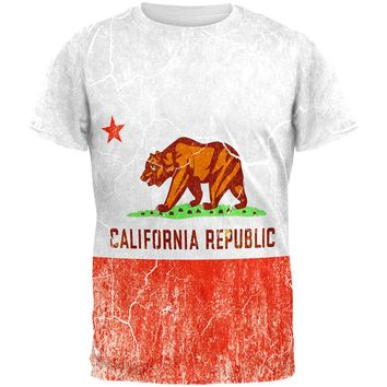 California Vintage Distressed State Flag All Over Mens T Shirt