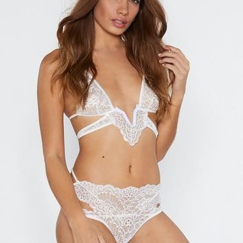Lace in Point Strappy Bralette and Panty Set