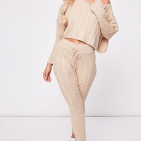 lilly stone cable knit loungewear set