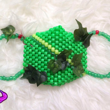 Neon Poison Ivy Inspired Kandi Mask Cosplay Poison Ivy Accessories Surgical Kandi Mask DC Kandi EDM Rave Wear Gear Super Villian Kandi